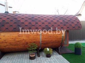 Фото бани-бочки, модель 4,5 метра - у нас вы можете купить баню-бочку в Минске с доставкой по всей Беларуси!