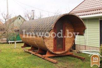 Фото бани-бочки, модель 5,5 метра - у нас вы можете купить баню-бочку в Минске с доставкой по всей Беларуси!