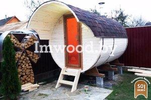 Фото бани-бочки, модель 3 метра - у нас вы можете купить баню-бочку в Минске с доставкой по всей Беларуси!
