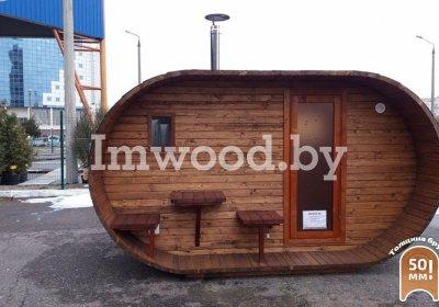 Фото бани овало-бочки, модель 3,5x4  метра - у нас вы можете купить баню овало-бочку в Минске с доставкой по всей Беларуси!