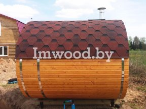 Фото бани овало-бочки, модель 2,5x4 метра - у нас вы можете купить баню овало-бочку в Минске с доставкой по всей Беларуси!