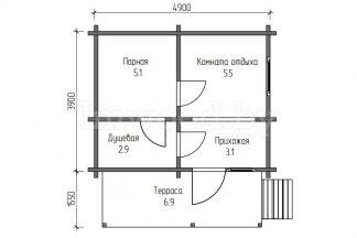 Баня из бруса 3,9x4,9