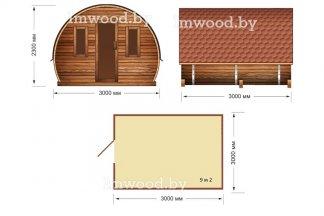 Дом-бочка. Планировка модели 3x3 метра - у нас вы можете купить арочный летний домик на дачу в Минске с доставкой по всей Беларуси!