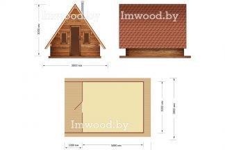 Дом-шалаш. Планировка модели 3x6 метров - у нас вы можете купить арочный летний домик на дачу в Минске с доставкой по всей Беларуси!