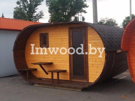 Фото бани овало-бочки, модель 3x4 метра - у нас вы можете купить баню овало-бочку в Минске с доставкой по всей Беларуси!