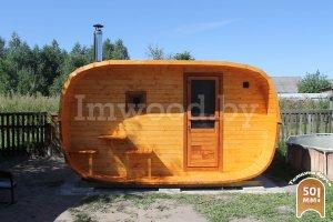 Овальная баня 2,5x4 с козырьком