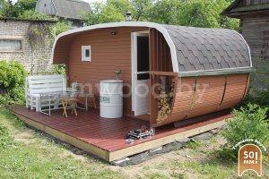 Овальная баня квадратная 3x4 с террасой